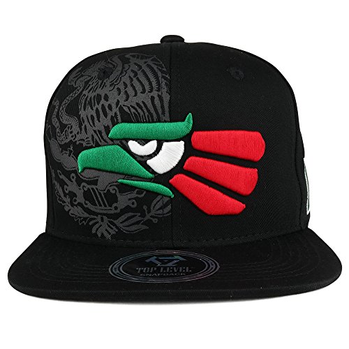 Trendy Apparel Shop Hecho En Mexico Eagle 3D Embroidered Flat Bill Snapback Cap - Black MEX