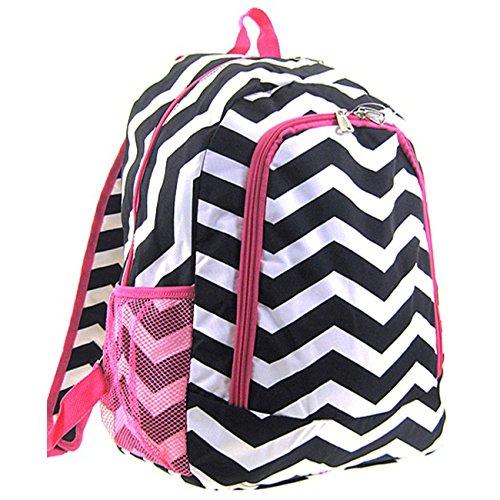 Chevron Print School Backpack Bookbag (Pink Trim Black White)
