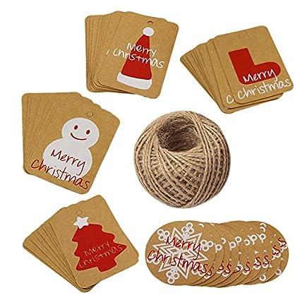 G2PLUS Christmas Gift Craft TAGS 100pz da appendere Paper/Kraft tag con 30meters perfetto per decorazione albero di Natale, il lavoro fatto a mano Christmas Set