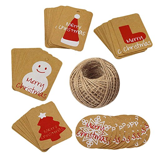 - Christmas Gift Tags,100 Pcs Kraft Paper Gift Tags with 100 Feet Jute Twine for Xmas Present Wrap,5 Designs