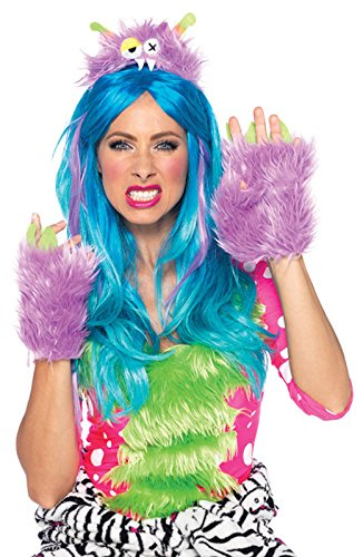 [Leg Avenue Women's 2 Piece Hairy Herbert Furry Monster Costume Kit, Lavender, One Size] (Sexy Monster Halloween Costumes)