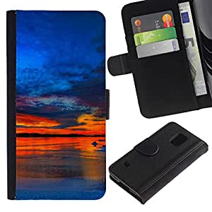 KingStore / Leather Etui en cuir / Samsung Galaxy S5 V SM-G900 / Sunset Beautiful Nature 37