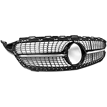 ZMAUTOPARTS Mercedes-Benz C-Class W205 Diamond Style Front Upper Hood Grille Black with Gloss Black Trim