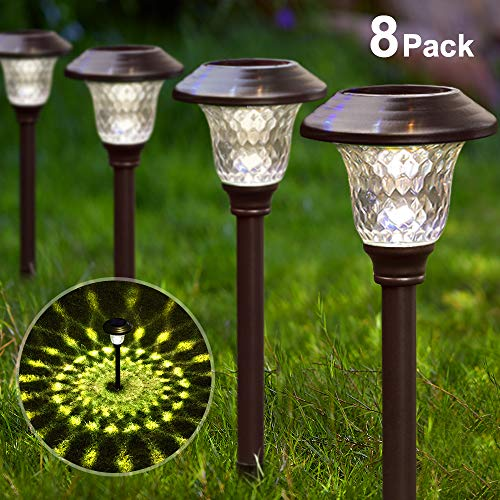 Solar Lights Bright Pathway Outdoor Garden Stake Glass Stainless Steel Waterproof Auto On/off White Wireless Sun Powered Landscape Lighting for Yard Patio Walkway In-Ground Spike Bronze Brown 8 Pack (Lighting Outside Solar)