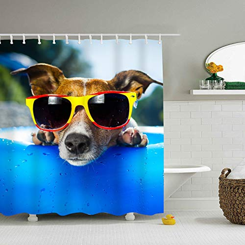 Mweet Decor Shower Curtain, Jack Russell Terrier, Fabric Bathroom Decor Set with Hooks 59 × 71 inch]()
