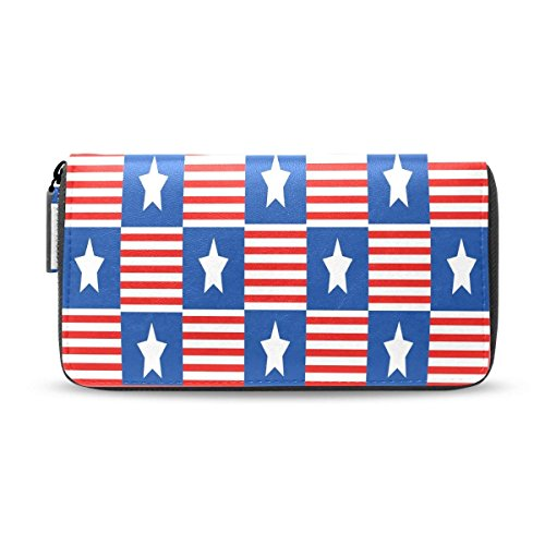 American Usa Flag Zipper Passport Long Purses Handbag Card Money Organizer Wallet by HJudge