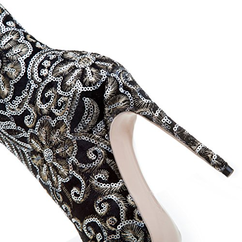 ENMAYER Frauen Sexy High Heels Pumps Stilett Spitz Zeh Reißverschluss Western Style Party Kleid Schuhe Negro