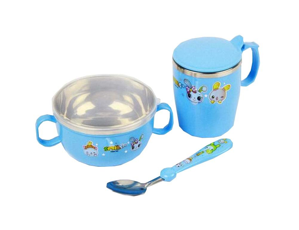 A Set of Baby Bowl Cup Spoon Kids Home Eating Dishes Blue
