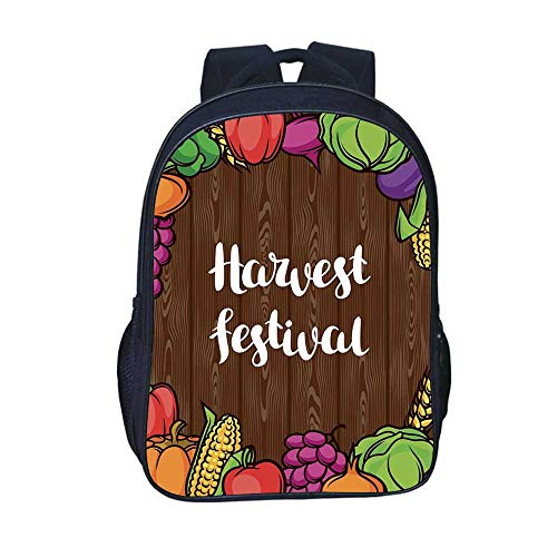 (Harvest Durable Backpack,Cartoon Style Colorful Food Frame Traditional Harvest Festival Calligraphy for School Travel,11.8