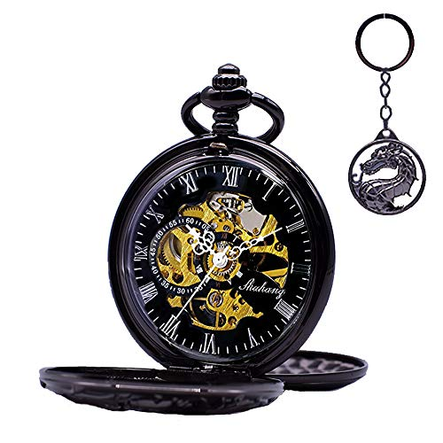 Dragon Skeleton Pocket Watches Black Udaney Antique Mens Mechanical Pocket Watch with - Pocket Watch Up With Wind Chain