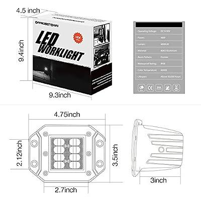 LED Work Light Flush Mount,OFFROADTOWN 2 Pcs 12V 48W Flush Cube LED Work Light Bar for Truck Off-Road SUV Boat 4x4 Jeep Grill Mount: Automotive