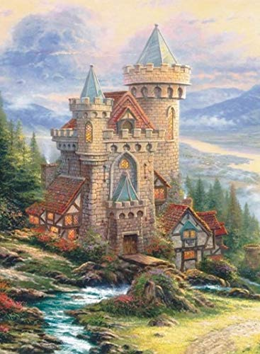 - European Castle Mountains Scene Arts Needlework 14CT Canvas Unprinted Handmade Embroidery DMC Cross Stitch Kits DIY Home Decor