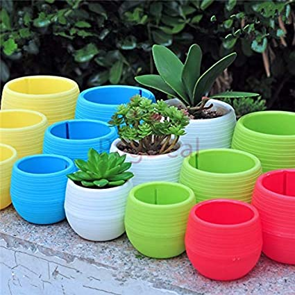 Plastic Pots Flower Plant Decorative Coloured Planter with Saucer round