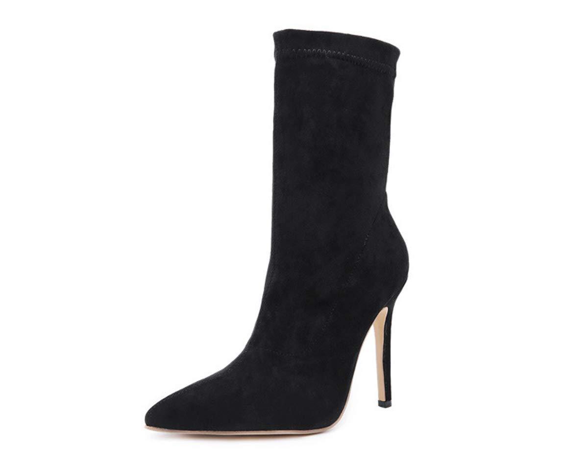 HBDLH Damenschuhe Mode Medium-Stiefel Mit Hohen 11Cm Sexy Spitze Wildleder Kurze Stiefel Single-Stiefel.