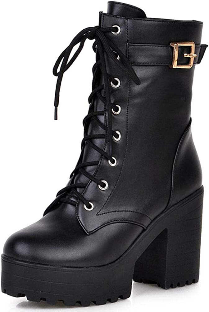 CELNEPHO Platform Mid Calf Boots, Lace Up Chunky Block High Heels Short Ankle Booties Motorcycle Combat Boots
