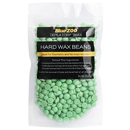 Hard Wax Beans No Strip Hair Removal Hot Film Depilatory Pearl Pellet 100g for Body Face Bikini Underarm (Tea tree)
