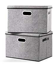Foldable Storage Box with Lid [2-Pack] Linen Decorative Storage Bin Organizer with Lids - Home, Office Storage Containers with Removable Cover, Gray