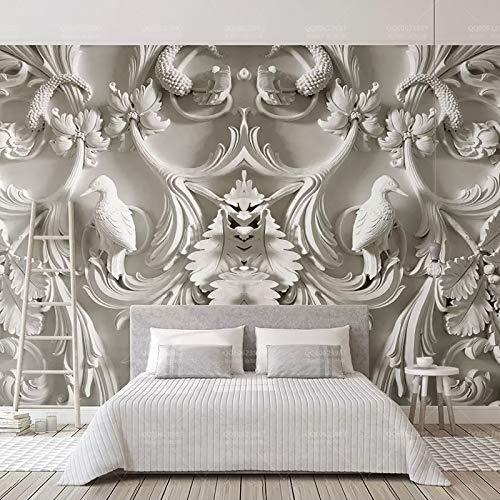Fotomural Grande 3D Wallpapers-Jane European White Relieve 200Cmx140Cm-Moderno Decoración Dormitorio Salón Baño Cocina Tv...