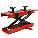 Red Mini Scissor Lift Jack Removable Crank Handle ATV Dirt Bike Stand Capacity 1100 LB w/ 2 Variable Screw Adapters