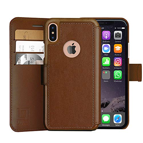 LUPA iPhone Xs Wallet case, iPhone X Wallet Case, Durable and Slim, Lightweight with Classic Design & Ultra-Strong Magnetic Closure, Faux Leather, Light Brown, for Apple iPhone Xs/X (Classic Hamper)