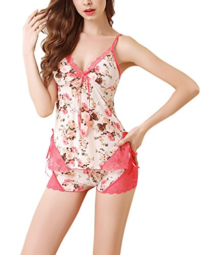 Print Short Pajama Set Sexy lingerie WIth Lace ()