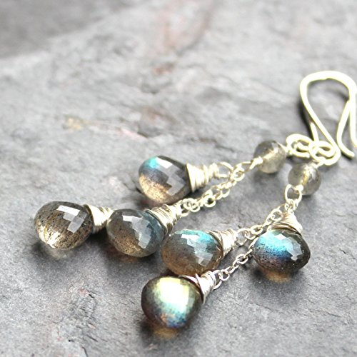 - Labradorite Earrings Cascade Gemstone Sterling Silver Gray Dangle Briolettes