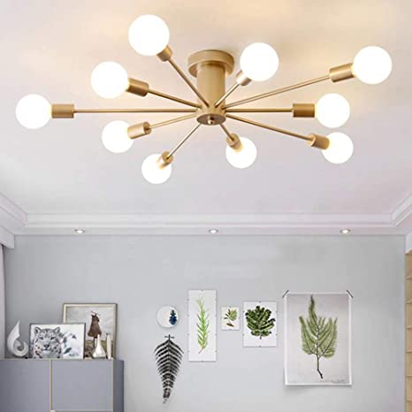 Runnup Creative Chandelier Modern Ceiling Lighting Fixtures Personality Hanging Lights Simple Decoration Flush Mount Ceiling Light 10 Lights For Kitchen Dining Room Bedroom Hallway Gold Amazon Com