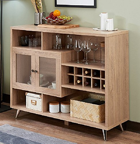 - Major-Q Modern Rustic Oak Finish Wooden Rack Cabinet Server Console Table with Open Compartments and Wine Storage, 9072630