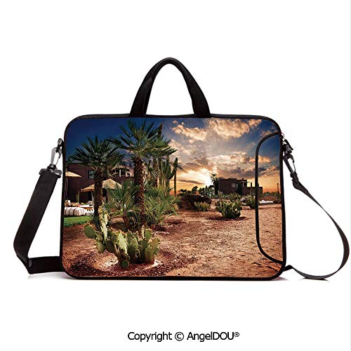 AngelDOU Customized Neoprene Printed Laptop Bag Notebook Handbag Majestic Sky View Palm Trees and Cactus in Oasis Morocco Tropic Nature Compatible with mac air mi pro/Lenovo/asus/acer Blue Green