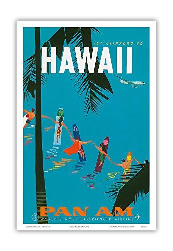 Jet Clippers to Hawaii - Pan American Airlines (PAA) - Hawaiian Surfers Linking Hands - Vintage Hawaiian Travel Poster by Aaron Fine c.1959 - Hawaiian Master Art Print - 12 x 18in