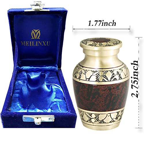 MEILINXU Mini Keepsake Funeral Urn Small Cremation Urn Human Ashes Adult - Brass Hand Engraved - Fits a Small Amount Cremated Remains - Burial Urn at Home Office (Tranquility Brown (Brass Keepsake Cremation Urn)