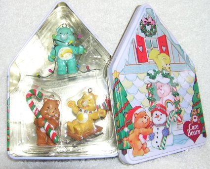 Carlton Cards Care Bears Holiday Ornament Set Includes Three Ornaments, Funshine Bear, Tenderheart Bear and Wish Bear in Collector Tin - 2003 Collectors Tin