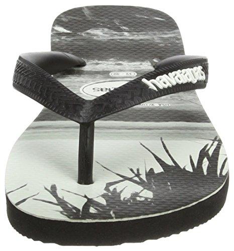 Havaianas Unisexe Garçons Haut Imprimé Photo Flip Flops Plat - Noir Noir