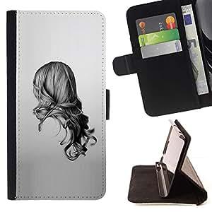 Momo Phone Case / Flip Funda de Cuero Case Cover - Chica Negro Blanco Dibujo minimalista - LG G2 D800