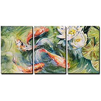 wall26 - Koi Pond and Lotus Flowers - Canvas Art Wall Decor - 16
