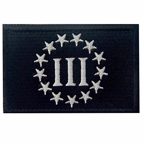 Three Percenter Tactical Embroidered Morale Applique Fastener Hook & Loop Patch, White & Black]()