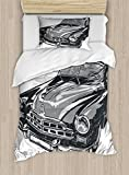 Ambesonne Cars Duvet Cover Set Twin Size, Hand Drawn Vintage Vehicle with Detailed Front Part Hood Lamps Rear View Mirror, Decorative 2 Piece Bedding Set with 1 Pillow Sham, Grey Blue Grey
