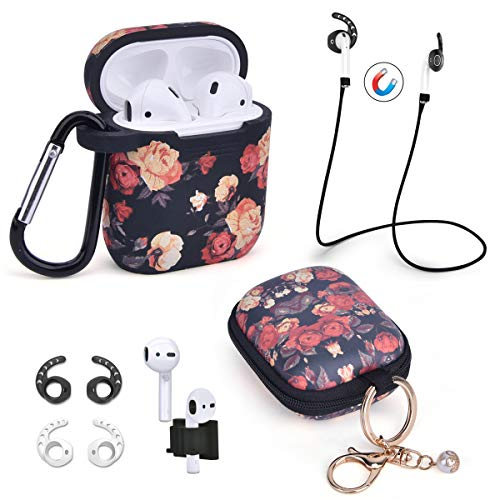 Airpods Case - Airspo 7 in 1 Airpods Accessories Set Compatible with Airpods 1 & 2 [Front LED Not Visible] Protective Silicone Cover Floral Print Cute Case (Black+Rose)