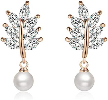 Zolure Rose Gold Pearl Dangle Earrings for Women Teen Girls with Leaf Shape Exquisite Crystal, Great Gift For Her