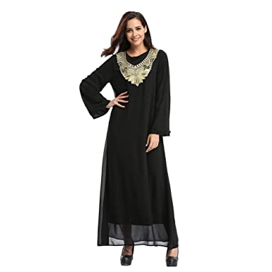 Meijunter Muslim Malaysia Chiffon Embroidery Islamic Turkey Maxi Dress Middle East Dubai Ethnic Kaftan Party Cocktail