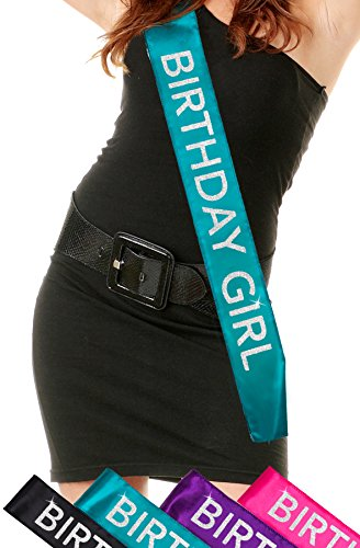 Turquoise Glitter Birthday Sash: Mermaid Turquoise Satin - Silver Glitter - Birthday Girl Sash for Women - Happy Sweet 16th 18th 21st 30th