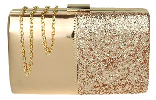 Girly HandBags Glitter Glossy Clutch Bag Champagne