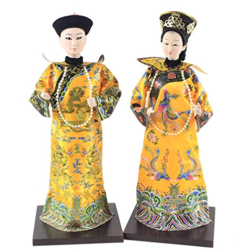 Heartrace 2Pcs 32cm Handmade Vintage Chinese Asian Doll Queen and Emperor of Qing Dynasty Brocade Clothing firgurine Imperial Palace Gift
