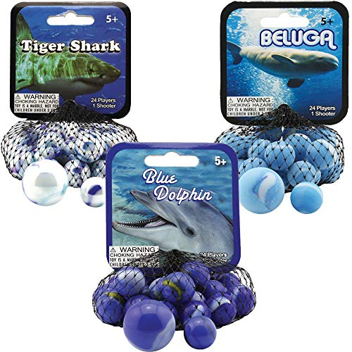 Mega Marbles 3 Pack - Blue Dolphin, Tiger Shark, & Beluga Game Nets - Includes 1 Shooter Marble & 24 Player Marbles Per Net ()