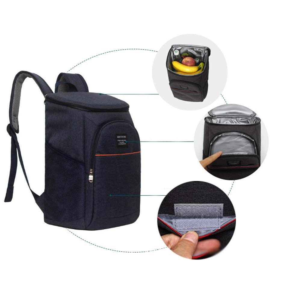Fishing Black Camping Family Day Trips Barbecues 18L Insulated Cooler Bag Reusable Lightweight Waterproof Cooler Picnic Rucksack for Hiking Sherieno Large Capacity Lunch Backpack Oxford