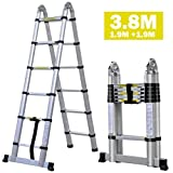 dicn Telescopic Ladder A Frame 3.8M 12.5ft Extendable Folding Step Ladder 150kg 330lb Capacity Aluminium Portable Multi Function for Home Loft Office