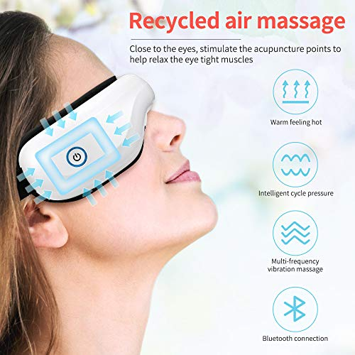 Bromose Wireless Foldable Rechargeable Eye Massager,Intelligent Mode One-Click Operation Eye Massager,Wireless Bluetooth Music Therapy Stress Relief for Eye Care Best Gift