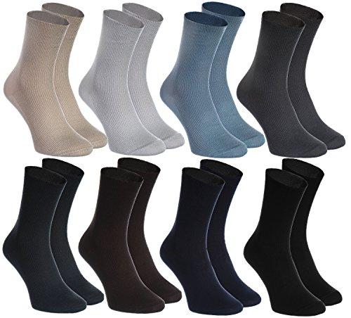 8 pairs of DIABETIC Non-Elastic Cotton Socks for SWOLLEN FEET, Classic Colors S