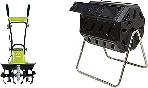 Sun Joe TJ604E 16-Inch 13.5 AMP Electric Garden Tiller/Cultivator,Black & FCMP Outdoor IM4000 Tumbling Composter, 37 Gallon, Black