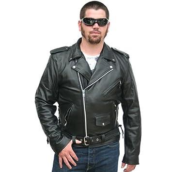 Amazon.com: Motorcycle Jackets - Classic Biker Leather Jacket 38 ...